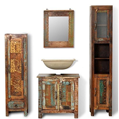 Anself Badmöbel Set aus Massivholz Waschbeckenunterschrank mit Spiegel und Seitenschränke