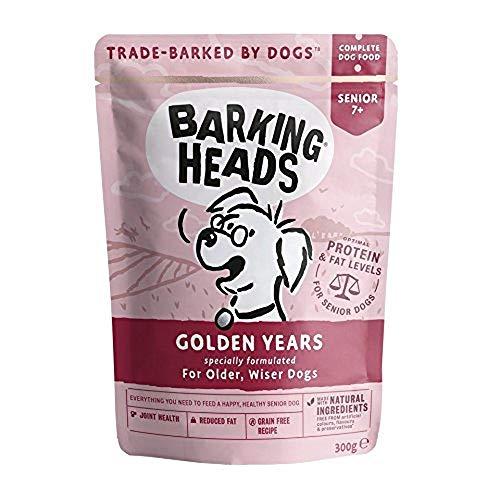 Barking Heads - Cibo umido per cani anziani, anni d'oro, pollo e salmone, senza aromi artificiali, ricetta senza cereali con livelli ottimali di proteine e grassi per cani anziani (10 x 300 g)