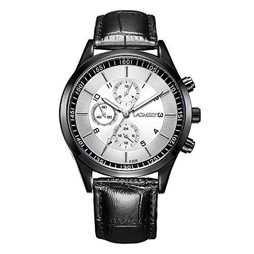 Relojes Hombre Cronógrafo Decorativo Sencillo con Correa de Cuero Negro, Blanco