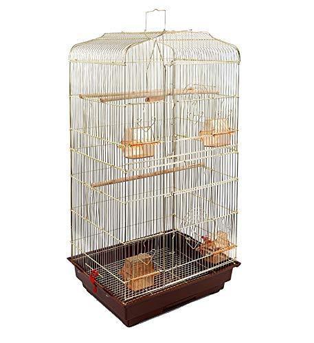 鳥かご バードケージ 大きいケージ 鳥小屋 大型 複数飼い セキセイインコ オカメインコ オウム 文鳥 小鳥 (3ゴールド)