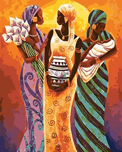 Alesx Traditionele Afrika vrouwen afbeelding schilderen op cijfers op doek DIY olie digitaal schilderen op cijfers kits voor wooncultuur 1 40x50cm Rahmen 40 x 50 cm frame.