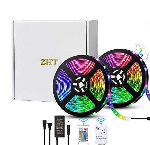 LED Strip Lights Music sync, ZHT 50Ft RGB LED Rope Light Strips Remote Control, 12V Power Supply Light Strip for Party, Bar, Ceiling, Bedroom, Kitchen.