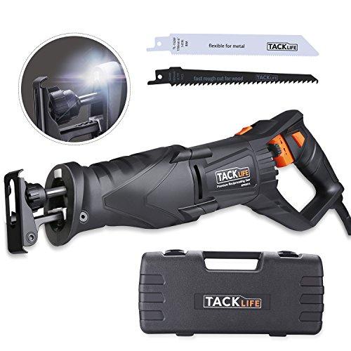 TACKLIFE Elektro Säbelsäge 850 W mit LED, Ergonomischem Drehgriff, Variable Geschwindigkeit 1000-2800 SPM, 2 Sägeblätter & Koffer-RPRS01A