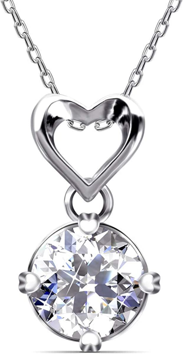 DREFBUFY Long-awaited Love Heart Necklace Sterling White L Plated Gold Max 81% OFF Silver
