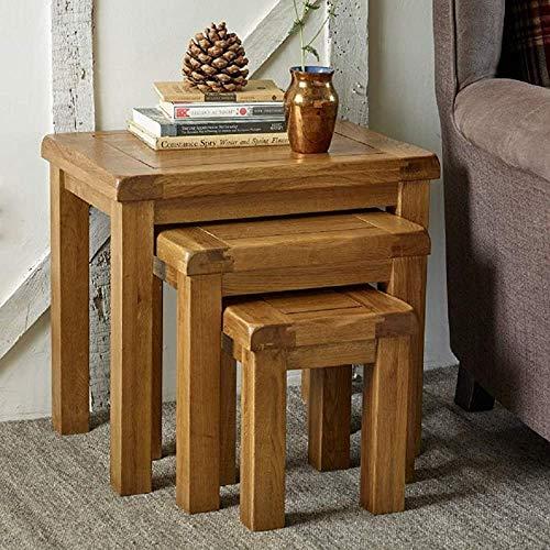 Roble de madera maciza de 3 tablas anidadas anidación estilo retro mesa de café paquete mesa auxiliar,Brown