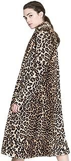 Aukmla 女士人造毛皮大衣豹纹印花长款翻领夹克带口袋