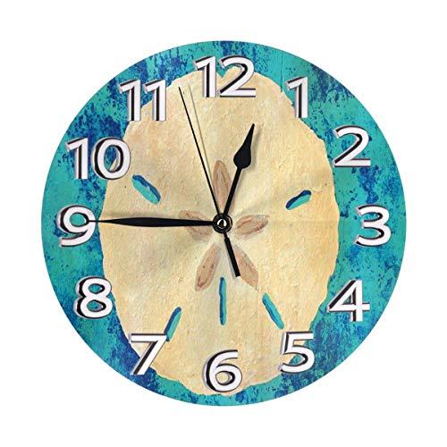 Reloj de Pared Redondo Sand Dollar in Blue Gabriela Valencia Reloj de Pared con círculo Decorativo