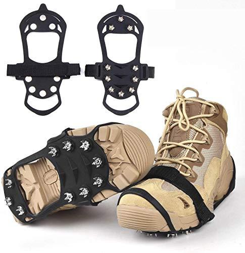 WeyTy Steigeisen, rutschfeste Schuhe Spike Edelstahl Nagel & Kieselgel Anti Rutsch Eisspikes/Schuhkralle/langlebiges Silikon Schuhkrallen für Winter Walking Wandern Bergsteigen (M)
