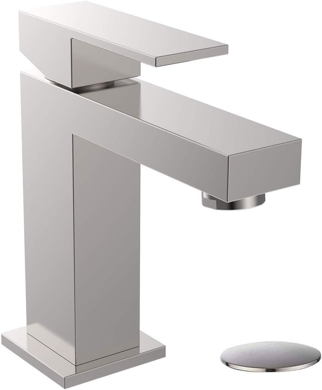 ALWEN Bathroom Faucet Brushed Nickel, Bathroom Faucets for Sink 20 Hole,  Single Faucet with Pop Up Drain Leadfree Touch on Bathroom Sink Faucet,