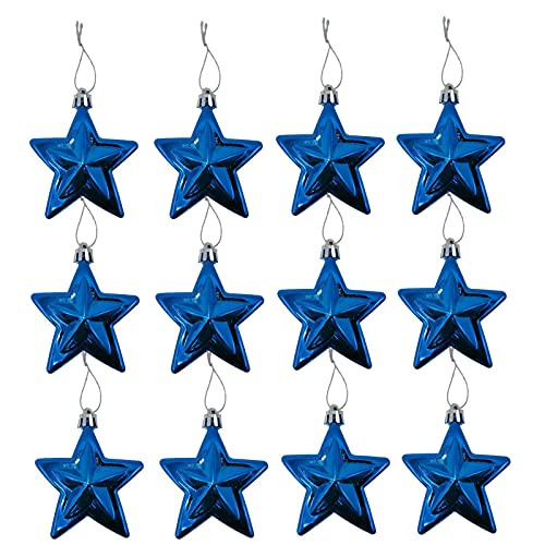 12 Pieces Star Pendant Ornaments, Plastic Christmas Tree Ornament Christmas Hanging Decoration For Holiday Festival Wedding Birthday Party For Kid Bed Room Decor, Wall Hanging Ornament