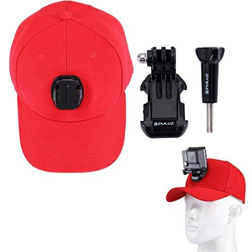 wortek GoPro Cap houder baseballpet met klittenbandsluiting Action Cam Mount voor GoPro Hero 5 / Session / 4/3+ / 3/2 met J-Hook en schroef voor bevestiging van de camera aan de muts in rood