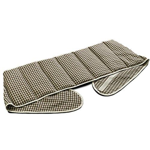 Kirschkernkissen. Gürtel mit Klettverschluss, ca. 135cm, 7-Kammer | Wärmekissen Rücken Wärmegürtel XXL Körnerkissen, braun-weiß
