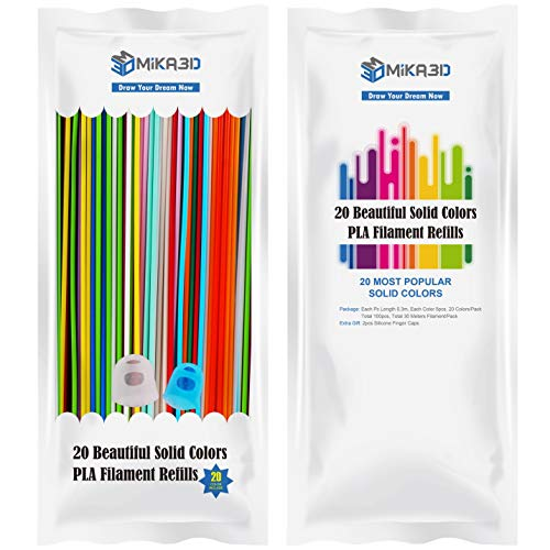 2.85mm PLA Filament Refills 20 Colors Pack for 3Doodler Create 3D Printing Pen, Each Strands 0.3m, Total 100 Strands 30 Meters Plastic Material, with Extra Gift 2 Silicone Finger Caps by MIKA3D