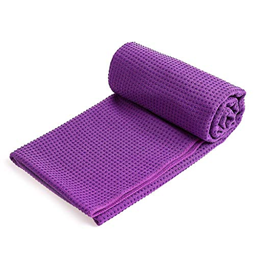 KSER Yogamatte rutschfestes Handtuch Yogadecke Yogamatte Handtuch 183X63cm gerader Punkt lila Sportgerät Für Zuhause Fitness Wellness Swing Stepper kettler laufband Sauna therme