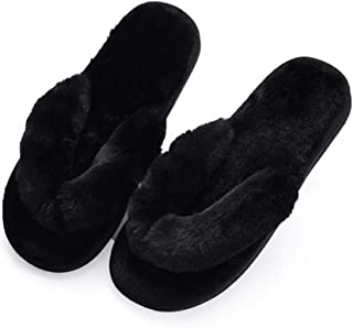 HCBLWY Womens Faux Fur Thong Spa Flip Flops Slippers Fluffy Open Toe Indoor House Shoes (7-8, Black)