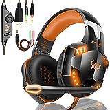 Tsing Auriculares profesionales con luz LED, sonido envolvente de graves, orejeras de memoria suave con micrófono yconector estéreo de 3,5 mm para PS4 naranja