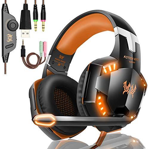 EACH G2000 Cuffie da Gioco Gaming Headphone con Microfono Stereo Bass LED Luce Regolatore di Volume...