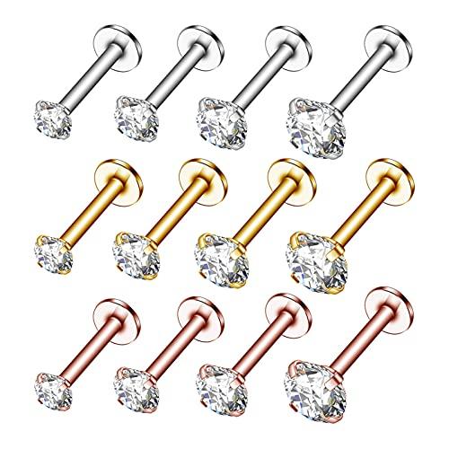 CLKE 30 piercings de acero inoxidable para nariz, labio, lengua, cejas, piercing para septum, hélice, tragus, piercing corporal, joyería