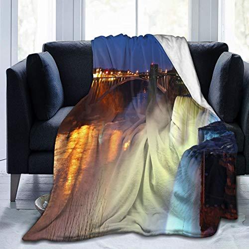 JISMUCI Flanell Fleece Soft Throw Decke,Nahaufnahme von Niagara Falls bei Nacht American Landscape Waterfall,für Sofas Sofa Stühle Couch Leicht,warm und gemütlich 127x102cm