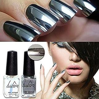 Esmalte de uñas de gel de color plateado, efecto espejo