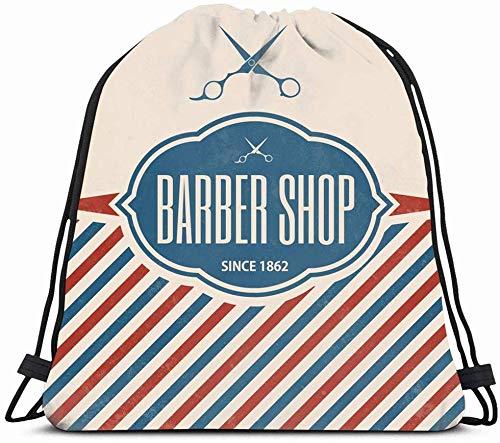 Drawstring Backpack String Bag 14x16 Design Pole Text Retro Graphic Badge Elegant Barber Vintage...