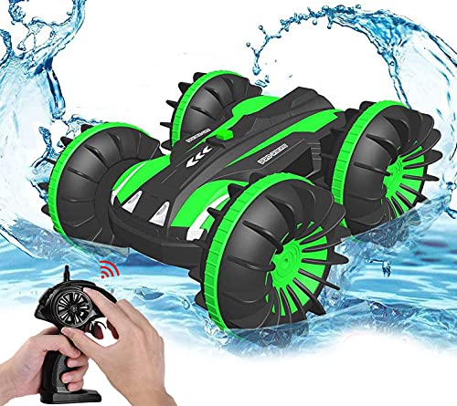 Pussan Toy Gifts for 5-10 Year Old Boys Amphibious Remote Control Car for Kids 2.4 GHz RC Stunt Car for Boys Girls 4WD Off Road Monster Truck Christmas Birthday Gifts Remote Control Boat Beach Toy