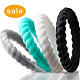 Silicone Wedding Rings for Women Large Size 9 - Stackable Rubber Wedding Bands for Her and Him - Non-Toxic, Skin Safe, Thin, Durable...