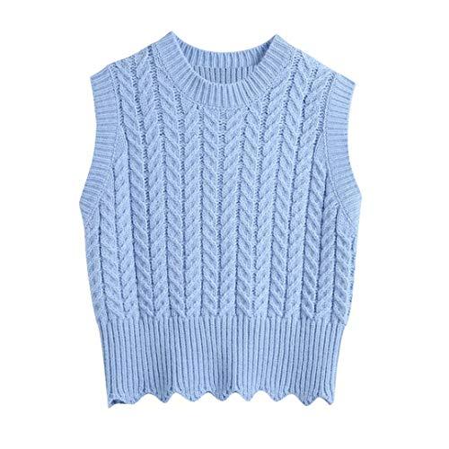Mujeres Sólido Color Crochet Casual Slim Short Punto Chaleco Suéter Femenino Chic O Cuello Sin Mangas Caballas