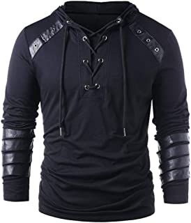 TZOU Man Punk Hoodie Long Sleeves Plus Size Tops Lace Up Loose Sweatshirts with PU Leather Decorated