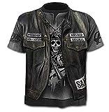 Camiseta Calavera para Hombre - gótica - Manga Corta - Divertida - Camisa - Metal - Biker - niño - Rock - Punk - Oscuro - Presidente - anarquía - Halloween - Color Negro - Talla m Anarchy Dark Metal