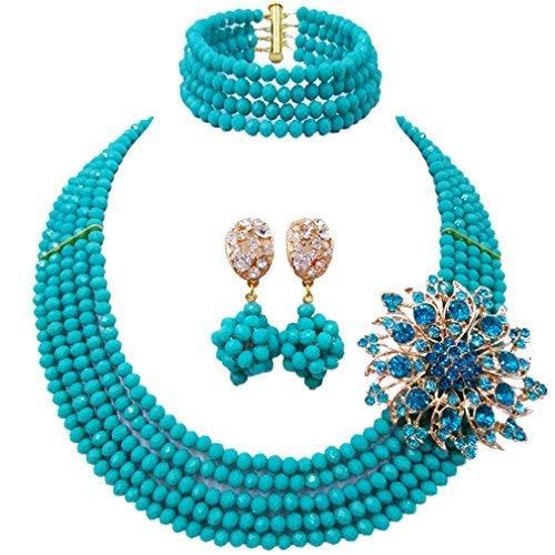 laanc A000138 - Parure di gioielli in stile nigeriano, da donna, composta da collana a 5 fili, bracciale e orecchini, per feste e matrimoni, colore: Blu opaco., cod. A000132