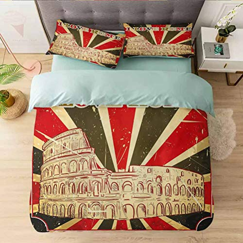 Duvet Cover Californai King, I Love Rome Lettering with Circus Tent and Bold Stripes A, Ultra-Soft Brushed Microfiber - Hypoallergenic, Easy Care, Wrinkle Resistant