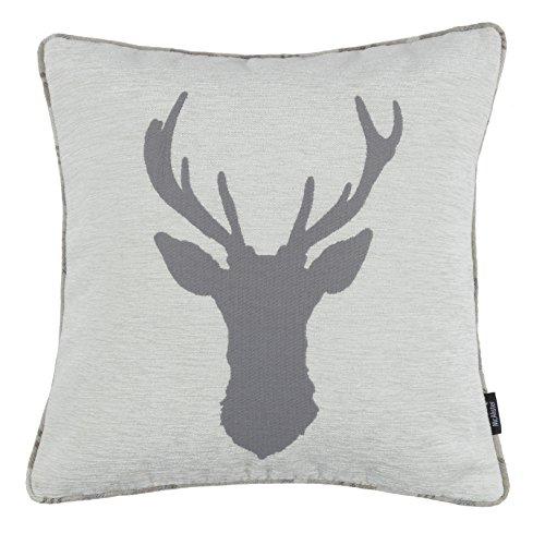McAlister Textiles Stag   Hirsch-Motiv Kissen inkl. Füllung 40cm x 40cm in Hellgrau   Rückseite Tartan kariert   Deko Kissen für Sofa, Couch, Sessel
