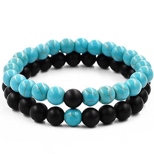 Belons Par de pulseras elásticas de 8 mm, color azul turquesa y negro mate ágata cuentas distancia conjunto de pulsera, 2 piezas