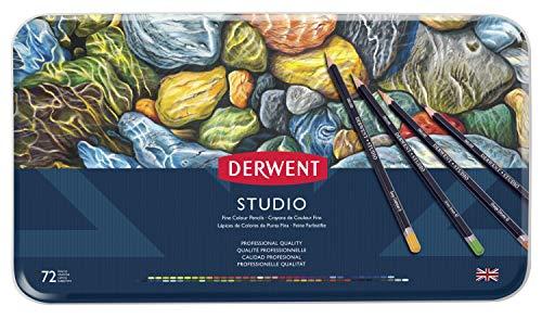 Derwent Studio Colored Pencils, 3.4mm Core, Metal Tin, 72 Count (32201)