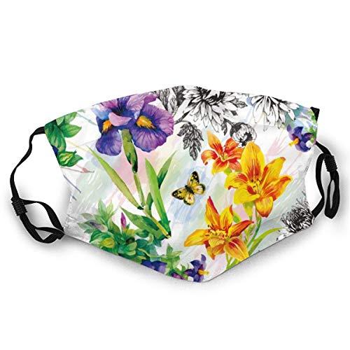 Gartenlilie, Veilchen, Saintpaulia Blumen Aquarell mit Schmetterlingen Adult Dust-Proof Mund Gesicht weich atmungsaktiv zum Radfahren