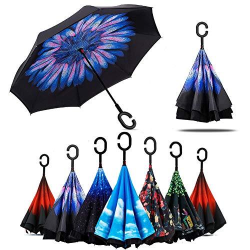 Lady of Luck Umgekehrter Regenschirm Reversion Winddichter Stockschirm mit Doppelten Stofflagen für Herren und Damen