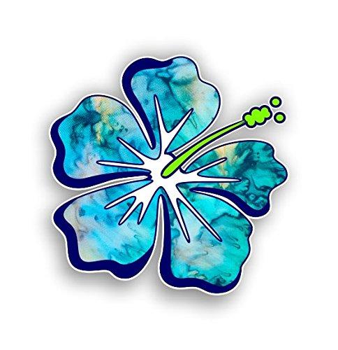 Hibiscus Flower Hawaiian Car Truck Window Laptop Vinyl Decal Sticker (Cyan Dream)