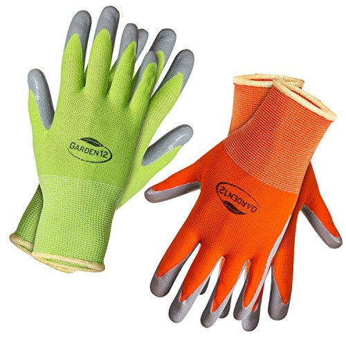Gardening Gloves for Women (2, Small) Super grippy Garden Gloves from Breathable Nylon with puncture-resistant nitrile