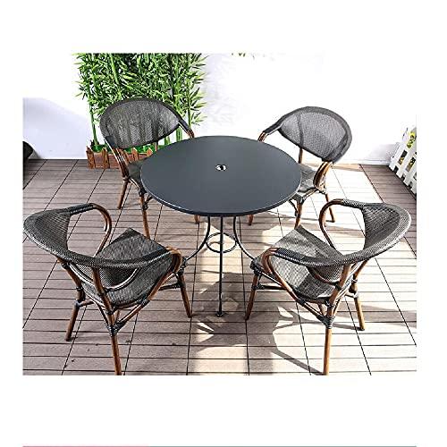 XIAOJU Mesa y Silla de pícnic al Aire Libre 4 sillas y 1 Mesa fácil de almacenar, apilable, Ideal para jardín, Porche, Junto a la Piscina, césped, balcón,Round Table