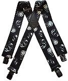 Mens Braces Heavy Duty 1.5' or 2' Skull Skulls Gothic Biker Motorbike Black Clip (1.5')