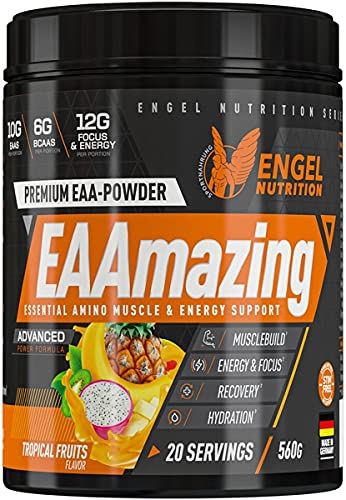 Engel Nutrition EAAmazing EAA Pulver 560g  Hochdosiert mit 19.000mg Aminosäuren  Alle 9 EAAs plus L-Glutamin, L-Arginin, Citrullin uvm.  Für vor oder während dem Training.(Tropical Fruits koffeinfrei)