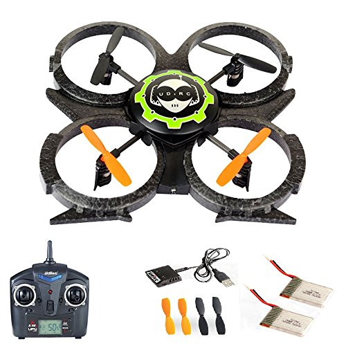 4.5 Kanal 2.4GHz RC R/C ferngesteuerter Quadrocopter, UFO-Modell Drohne für 3D-Flug, mit MEGA-SET: 2x Akku und Ersatzteil-Set, Ready-to-Fly