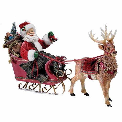 Kurt Adler Fabriché 10-Inch Santa in Sleigh with Deer Tablepiece