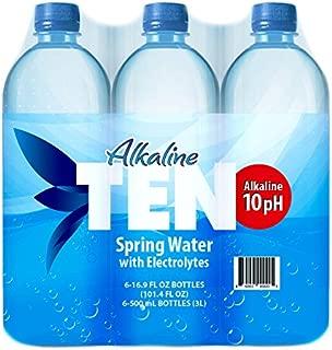 TEN Alkaline Spring Water, pH 10, High in Electrolytes, 16.9 Ounce Bottle (Pack of 6)