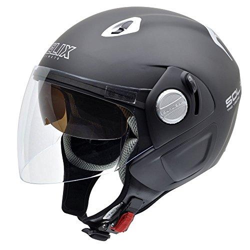 NZI 150212G093 Solar Casco de Moto, Color Negro, Talla 57 (M)