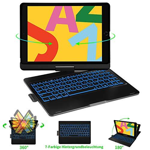 ELTD Beleuchtete Tastatur Hülle für iPad 2019 10,2 Zoll (7. Gen), iPad Air 2019 (3. Gen), iPad Pro 10,5 2017, Deutsches QWERTZ Lyout (Schwarz)