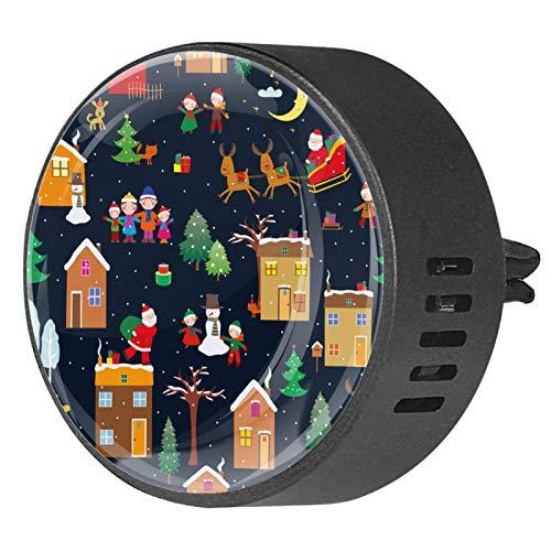 Josid 2 piezas de Navidad Papá Noel con diseño de casa de reno para coche, ambientador de aromaterapia, difusor de ventilación de coche, clip de regalo decoraciones de 40 mm