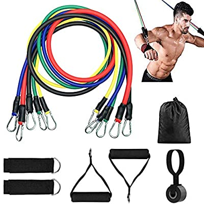 VOMA 11 Pack Resistance Bands Set,Including 5 Stackable Exercise Bands Straps with Door Anchor,2 Foam Handle,2 Metal Foot Ring & Carrying Case - Home Workouts,Gym Training,Yoga,Physical Therapy