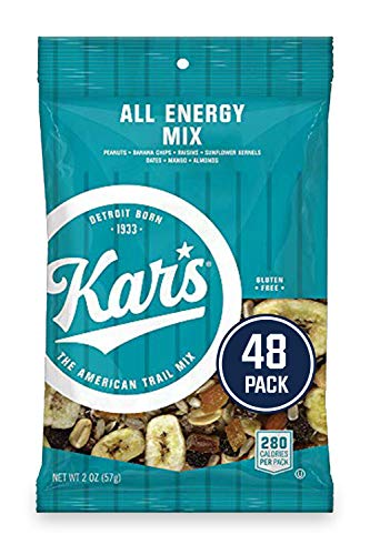 Kars All Energy Unsalted Trail Mix Snacks -Bullk Pack of 2 oz Individual Packs (Pack of 48)